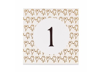 Gold Cartoon Heart Table Number