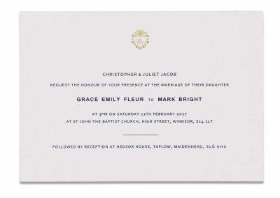Navy Crest Invitation