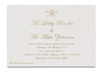 Gold Letterpress Invitation